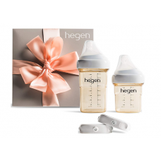 Hegen Newborn Baby Bottle Basic Starter Kit- PPSU Bottle for Babies, Medium & Slow Teat- Breast Milk Storage Lids and Secure Seals