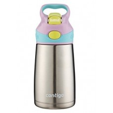 Contigo AUTOSPOUT Straw Striker Chill Stainless Steel Kids Water Bottle, 10oz, Thistle