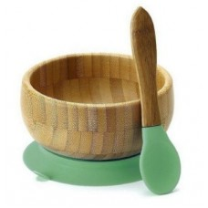 BAMBOO STAY PUT SUCTION BABY BOWL + SPOON GREEN