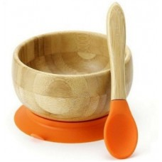 BAMBOO STAY PUT SUCTION BABY BOWL + SPOON ORANGE