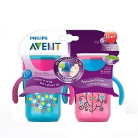 Philips Avent My Natural Drinking Cup, 9 Ounce, Pink/Blue 2 Count, Stage 4